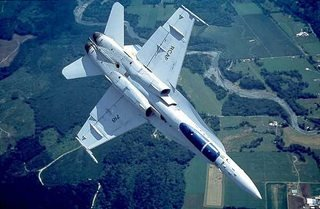 Canadian CF-18 Hornet, inverted, with false canopy.