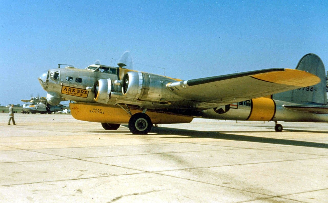 Converted B-17 with raft